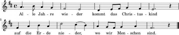 Alle Jahre wieder - Deutsches Weihnachtslied - Melodie